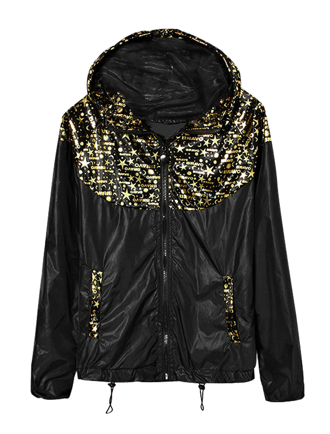 Men Stars Letters Prints Zip Up Long Sleeves Hooded Jacket Gold Tone Black S