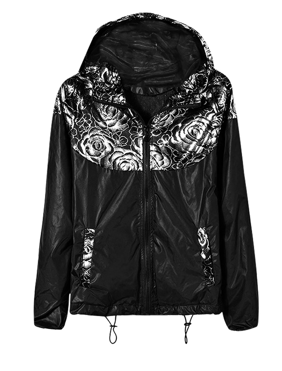 Men Flower Prints Zip Up Fully Lined Hooded Jacket Silver Tone Black S