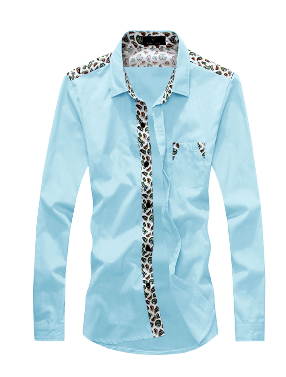 Men Point Collar Paisleys Chest Pocket Casual Shirts Light Blue S