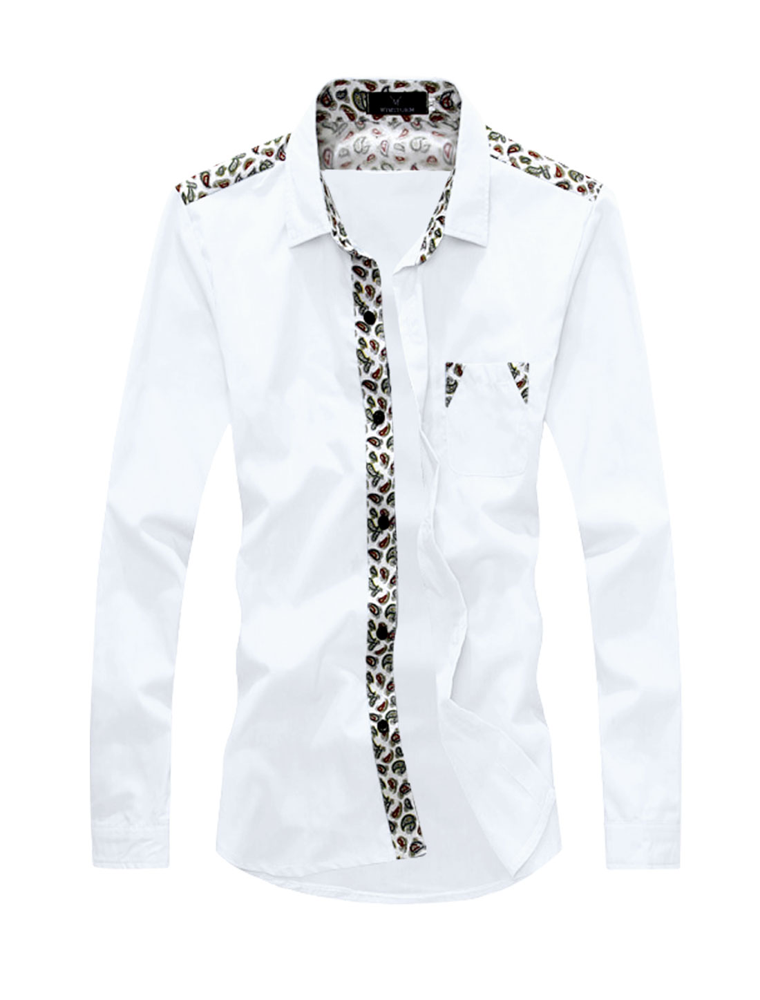 Men Long Sleeves Paisleys Chest Pocket Casual Shirts White S