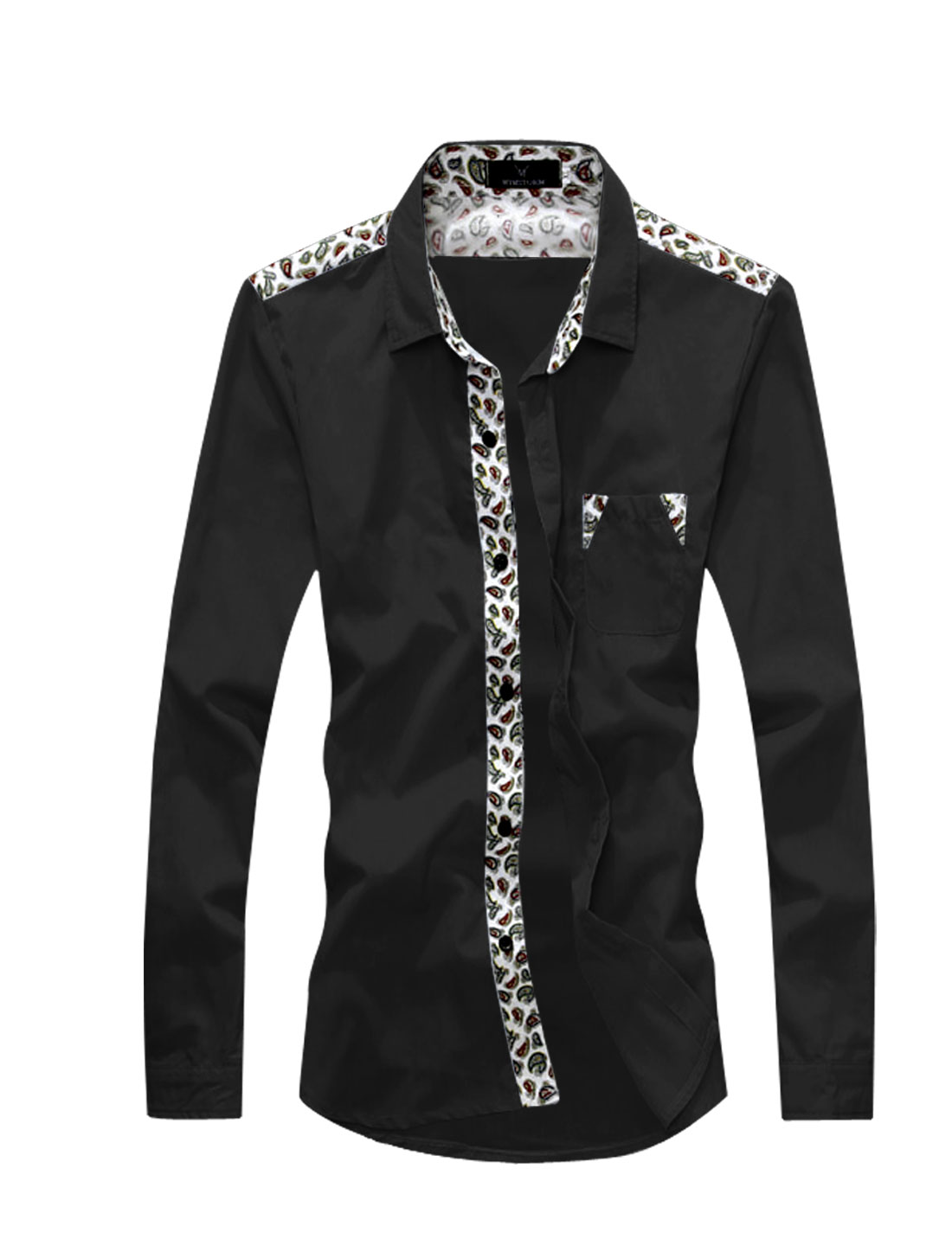 Man Long Sleeves Paisleys Button Down Shirts Black S