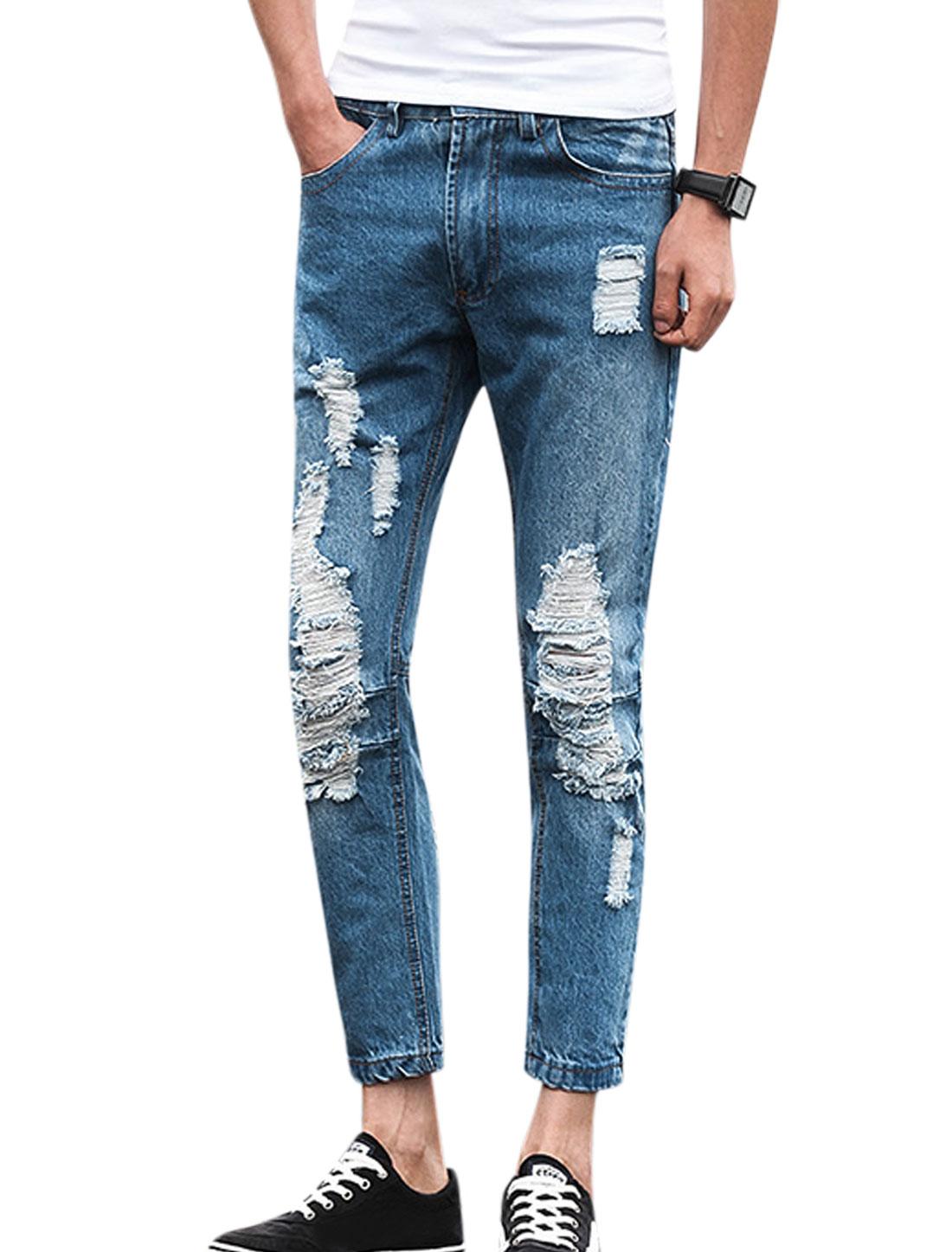 Men Belt Loop Pockets Destroyed Casual Jeans Pants Blue W30