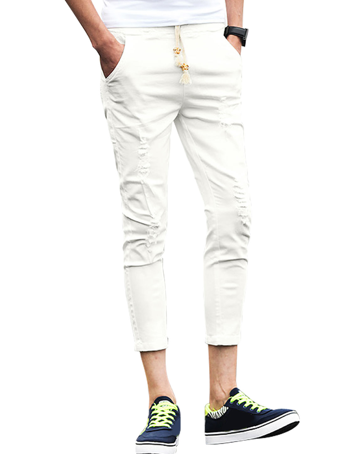 Men Mid Rise Two Slant Pockets Skinny Distrssed Crop Pants White W30