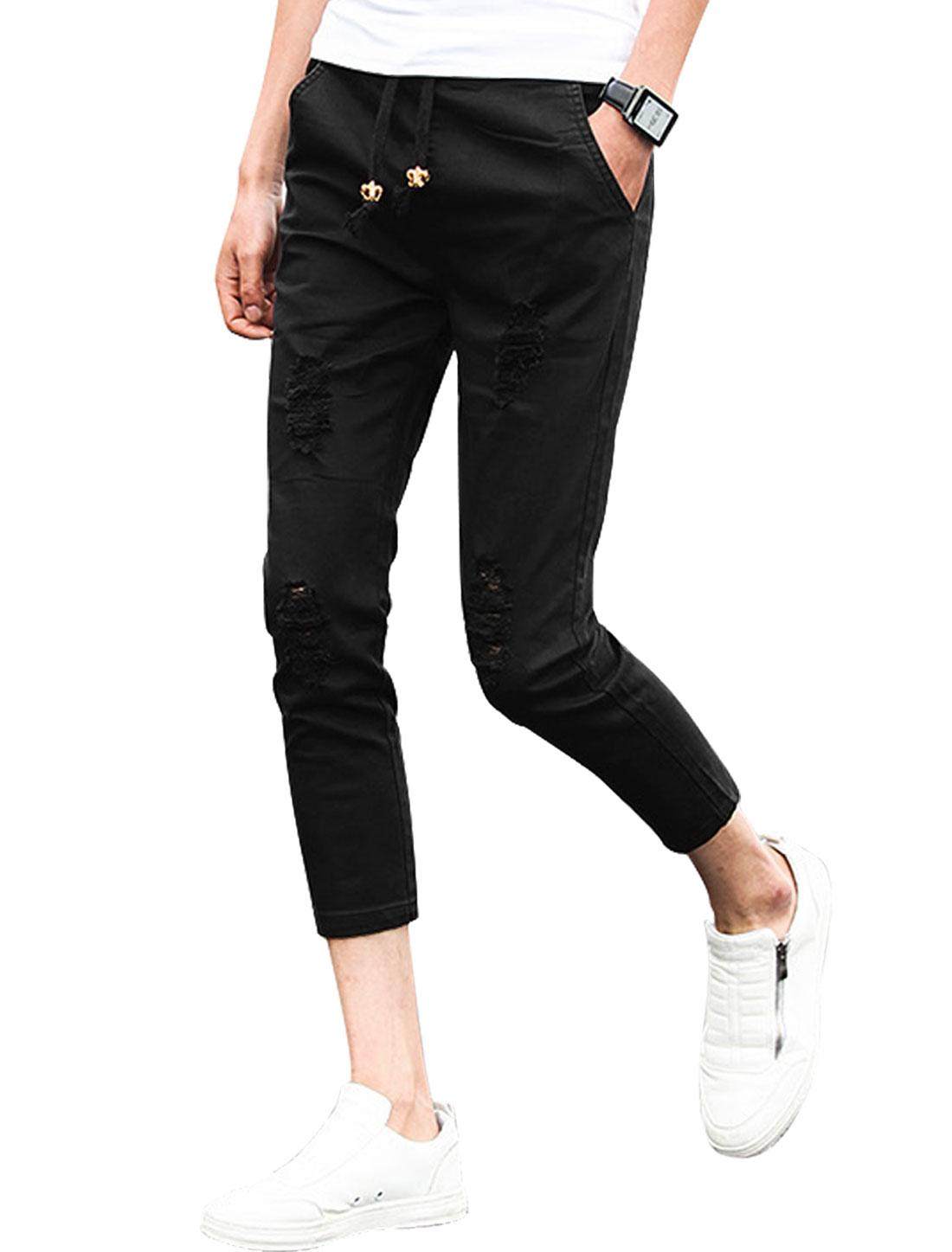 Man Destroyed Design Mid Rise Skinny Cropped Pants Black W30