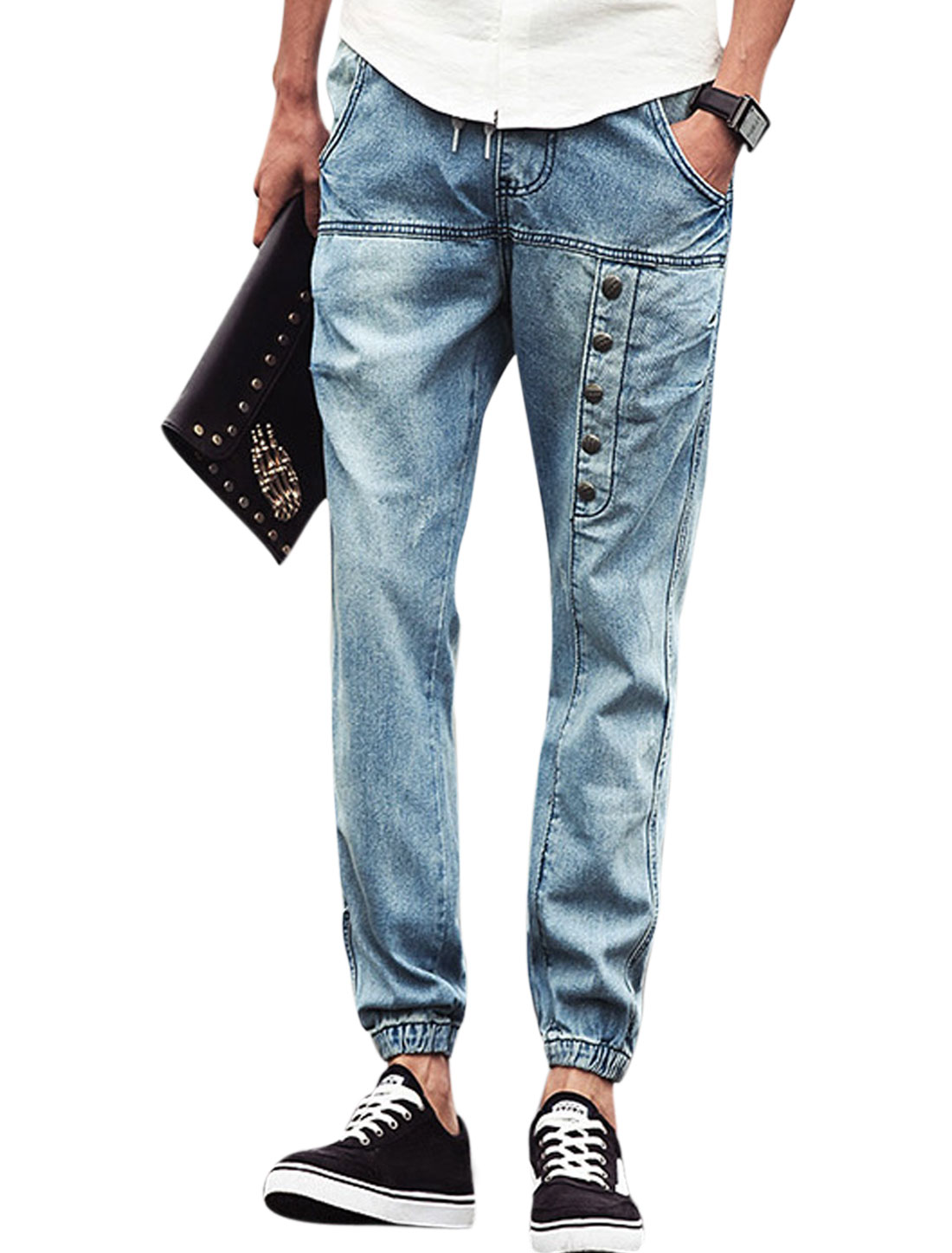 Men Mid Rise Drawstring Waist Pockets Casual Cropped Jeans Sky Blue W30