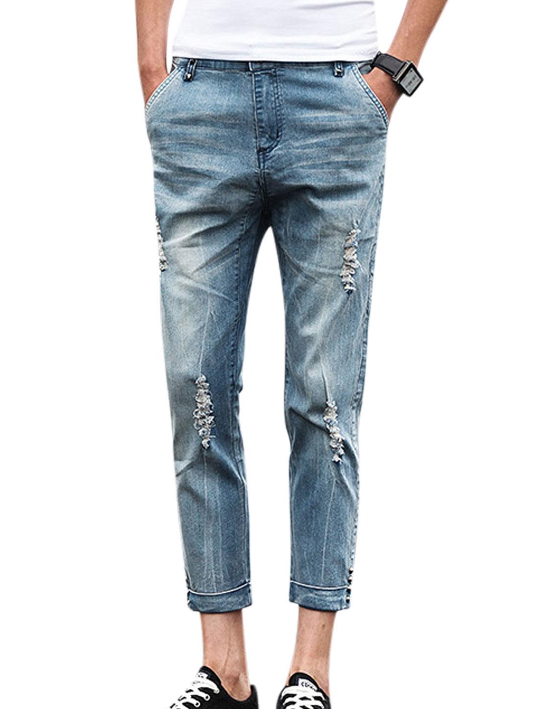 Men Mid Rise Pockets Destroyed Rivets Decor Casual Jeans Sky Blue W28