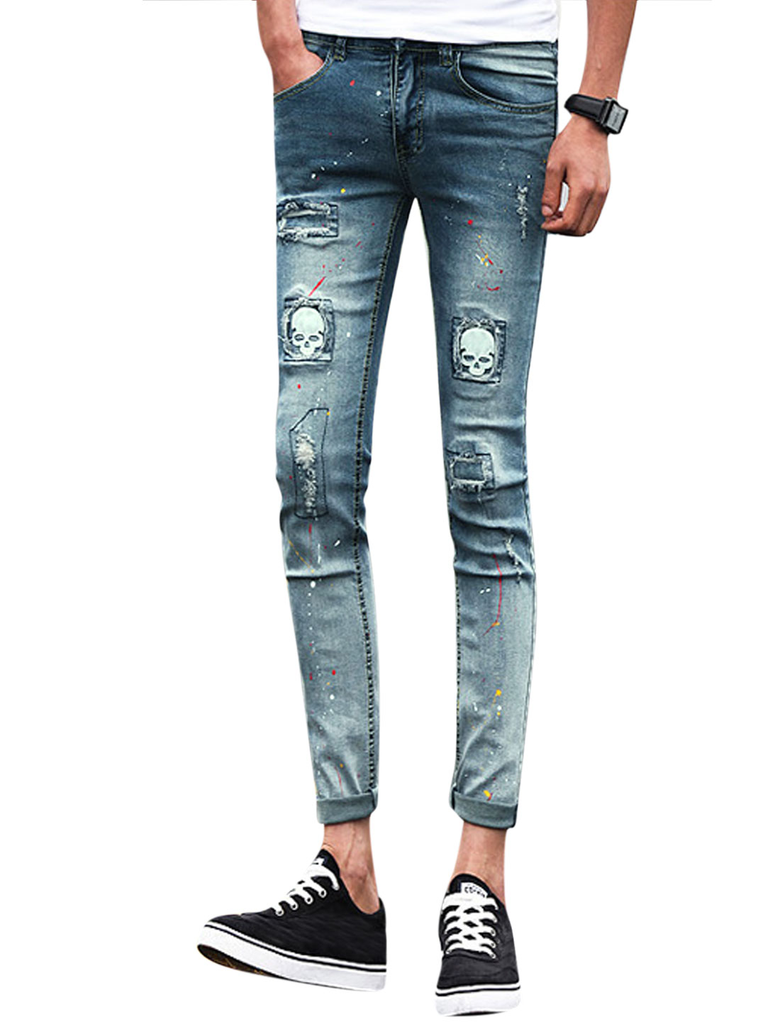 Men Destroyed Skull Applique Skinny Jeans Blue White W28