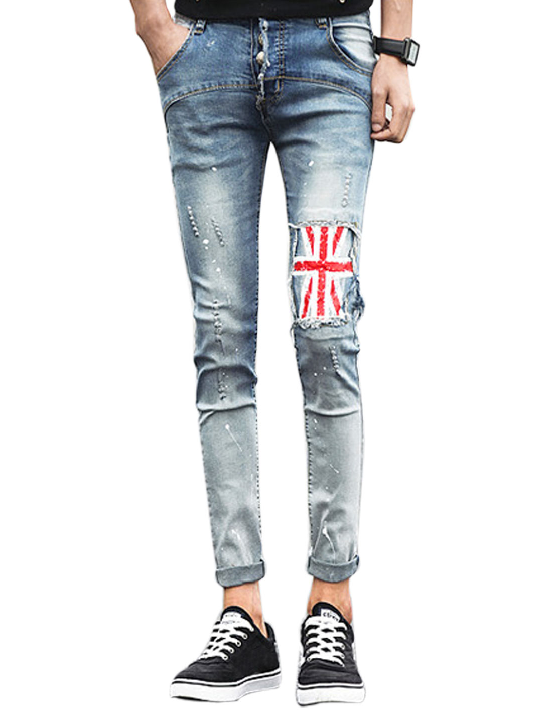 Men Belt Loop Flag Pattern Jeans Pants Blue Red W28