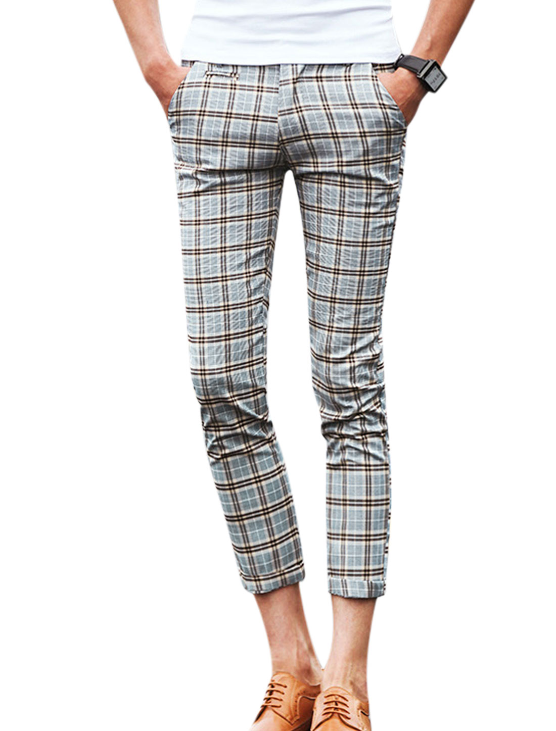 Men Plaids Two Slant Pockets Front Slim Fit Casual Cropped Pants Beige Coffee W30