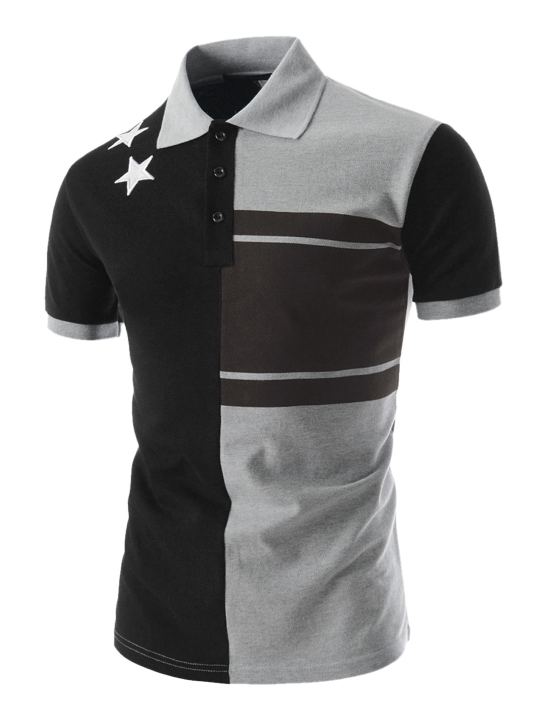 Men Stars Stitched Detail Color Block Polo Shirt Black Dark Gray M