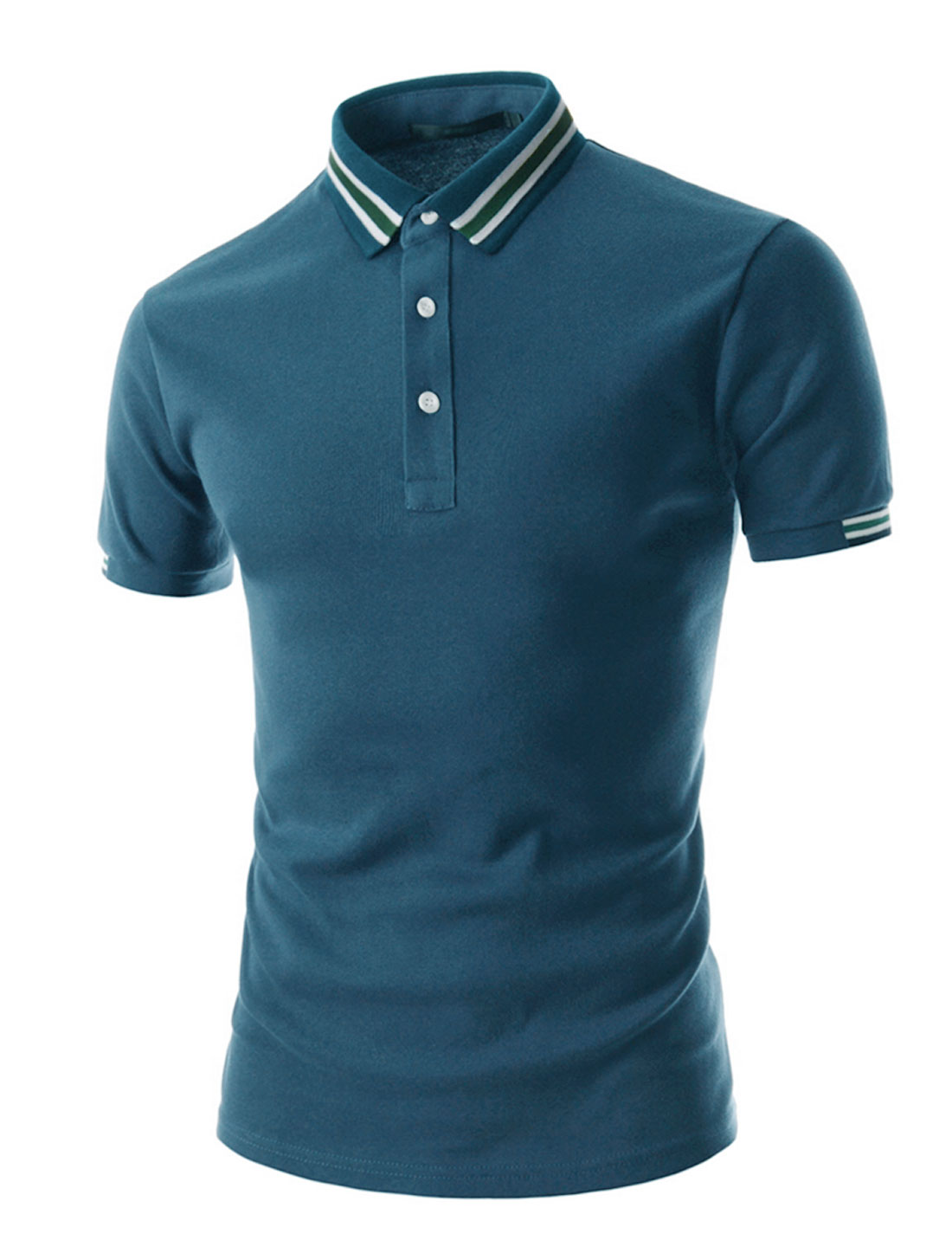 Men Stripes Detail Collar Short Sleeves Casual Polo Shirt Navy Blue M