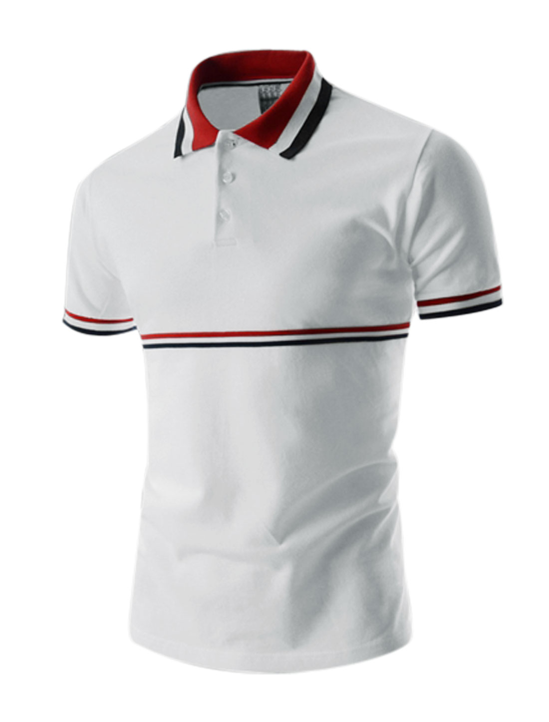 Men Stripes Detail Ribbed Point Collar Short Sleeve Polo Shirt White Red M