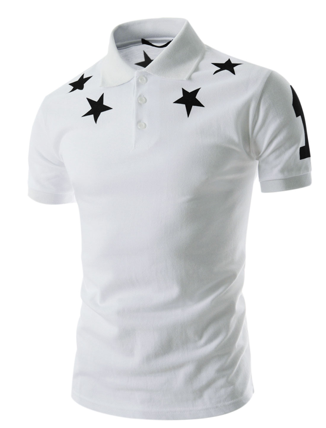 Men Stars Pattern Point Collar Ribbed Cuffs Casual Polo Shirt Whites M