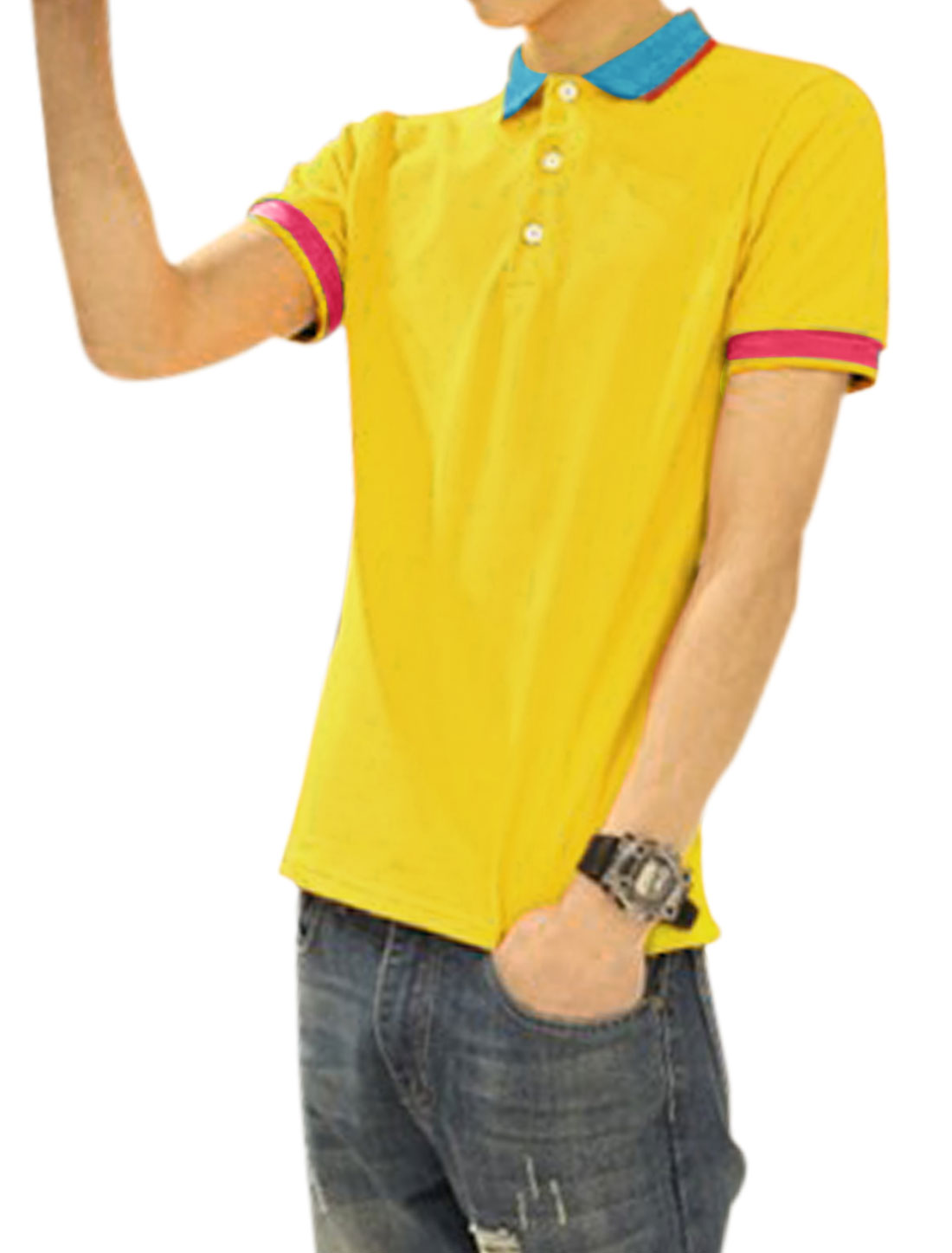 Men Contrast Color Point Collar Short Sleeves Casual Polo Shirt Yellow M
