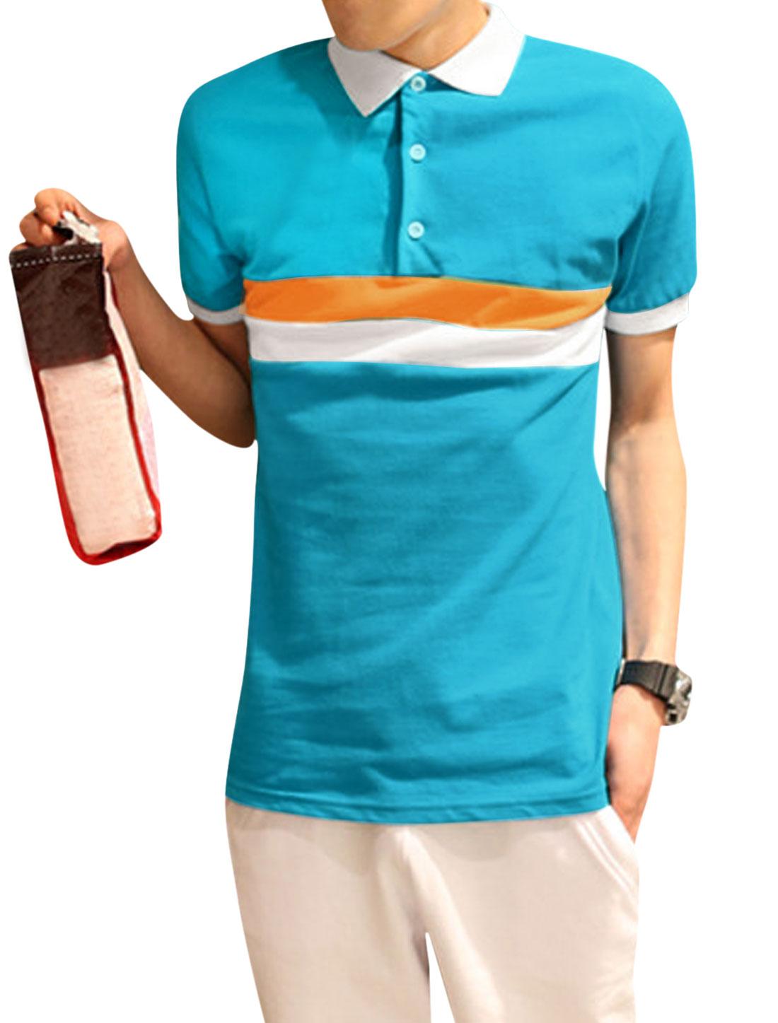 Man Color Block Stripes Design Button Closed Upper Polo Shirt Blue Orange M