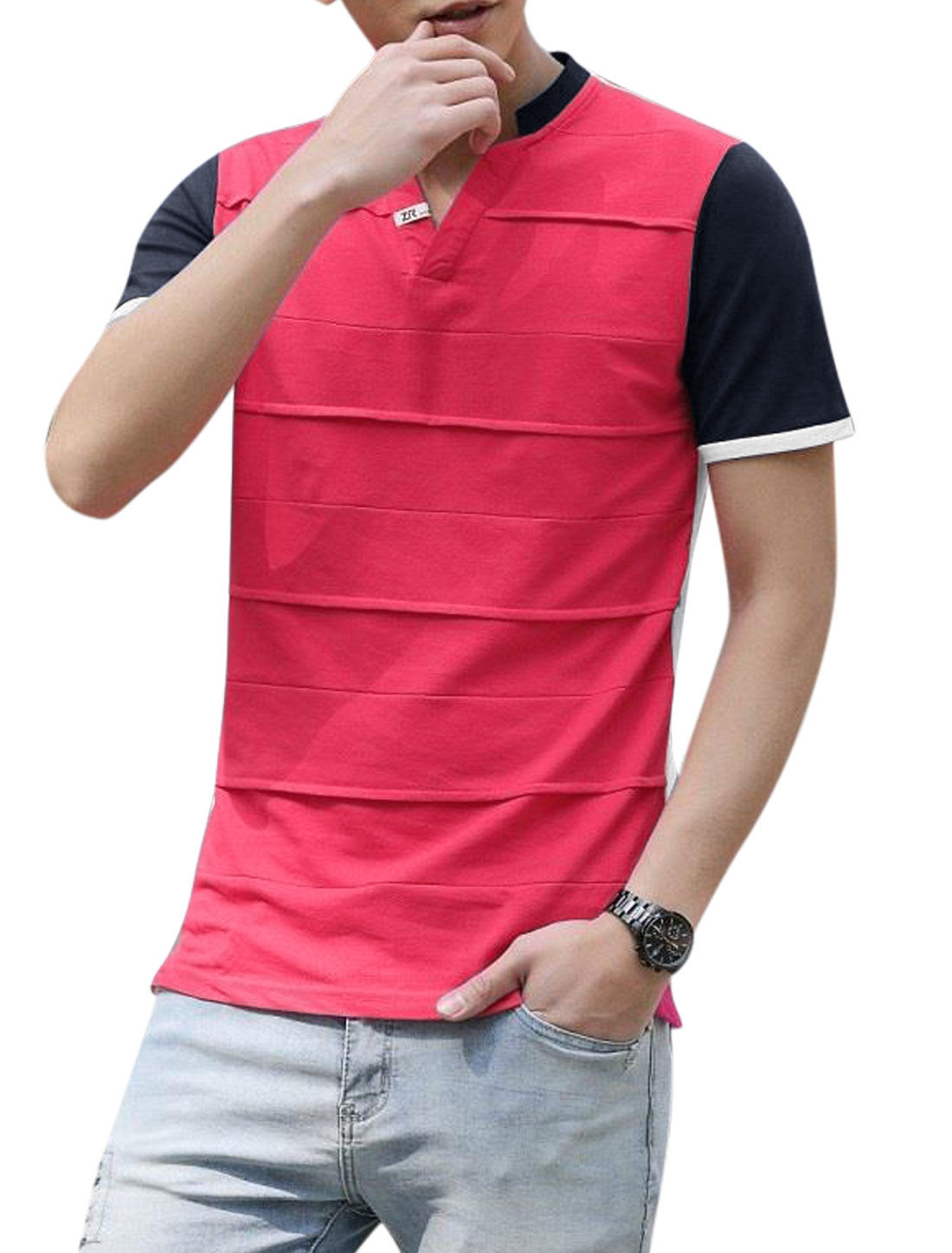 Man Stand Collar V Neck Contrast Color Vented Sides Tee Shirt Fuchsia M