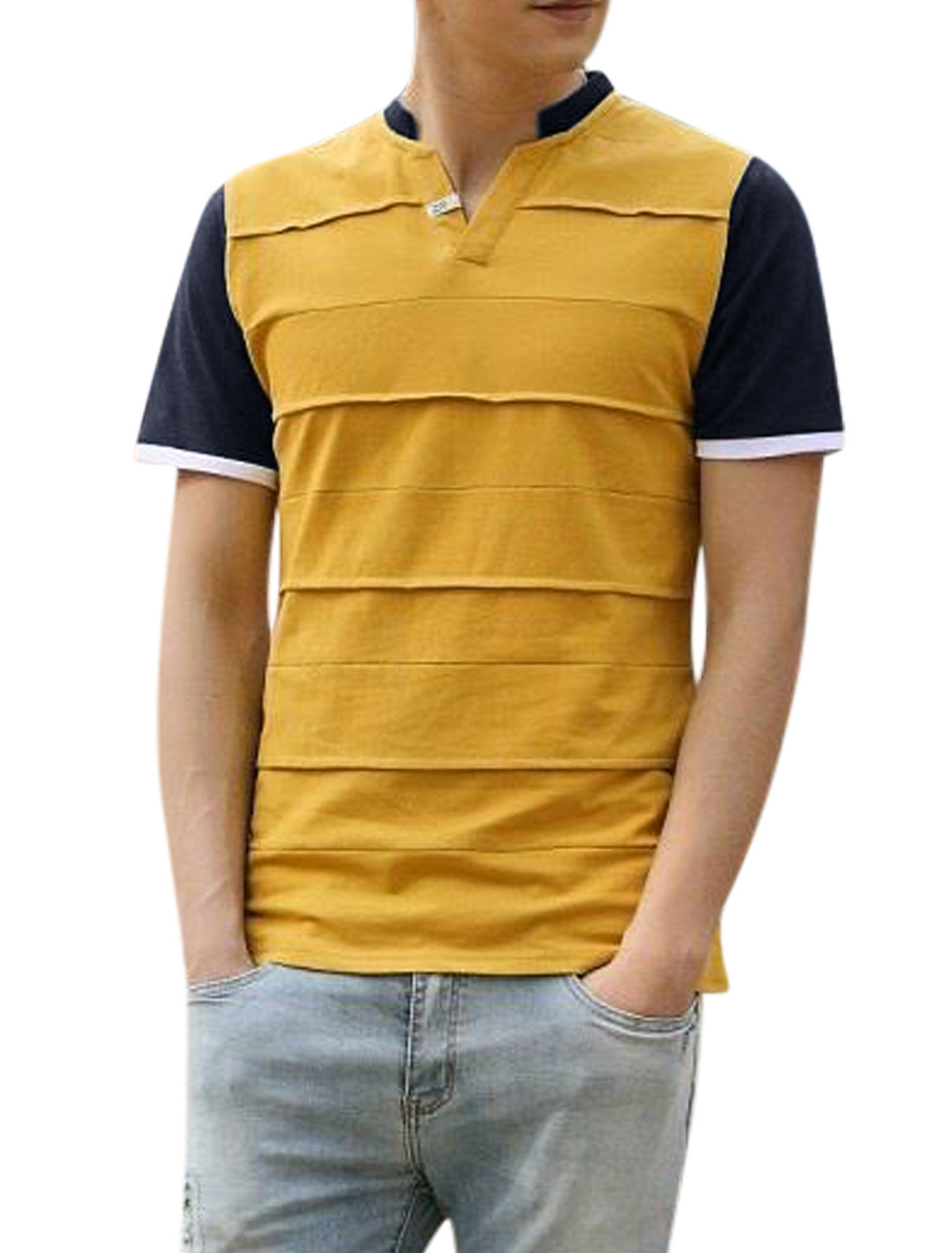 Man Stand Collar V Neck Contrast Color Panel Casual Tee Shirt Yellow M
