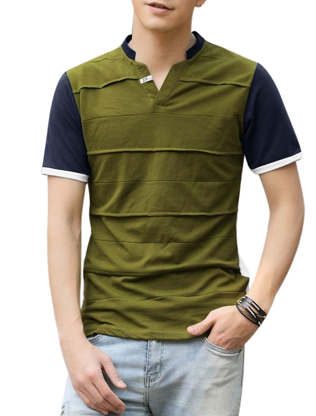 Man Stand Collar V Neck Contrast Color Short Sleeves Tee Shirt Moss M