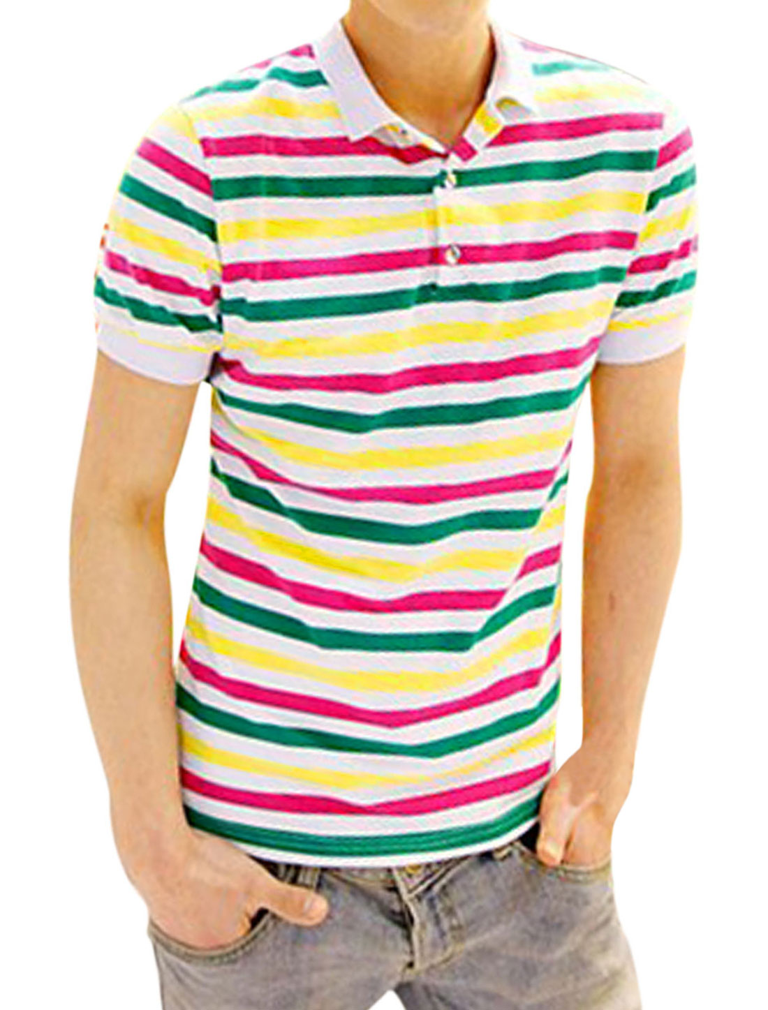 Men Stripes Short Sleeves Ribbed Collar w Cuffs Polo Shirts White Green M