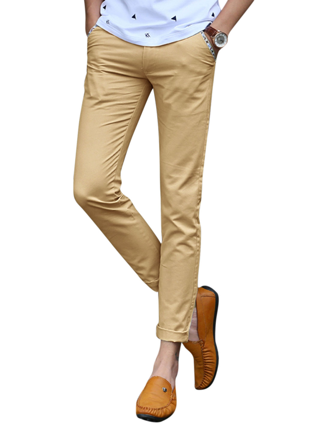 Men Mid Rise Zip Fly Flap Design Casual Trousers Khaki W30