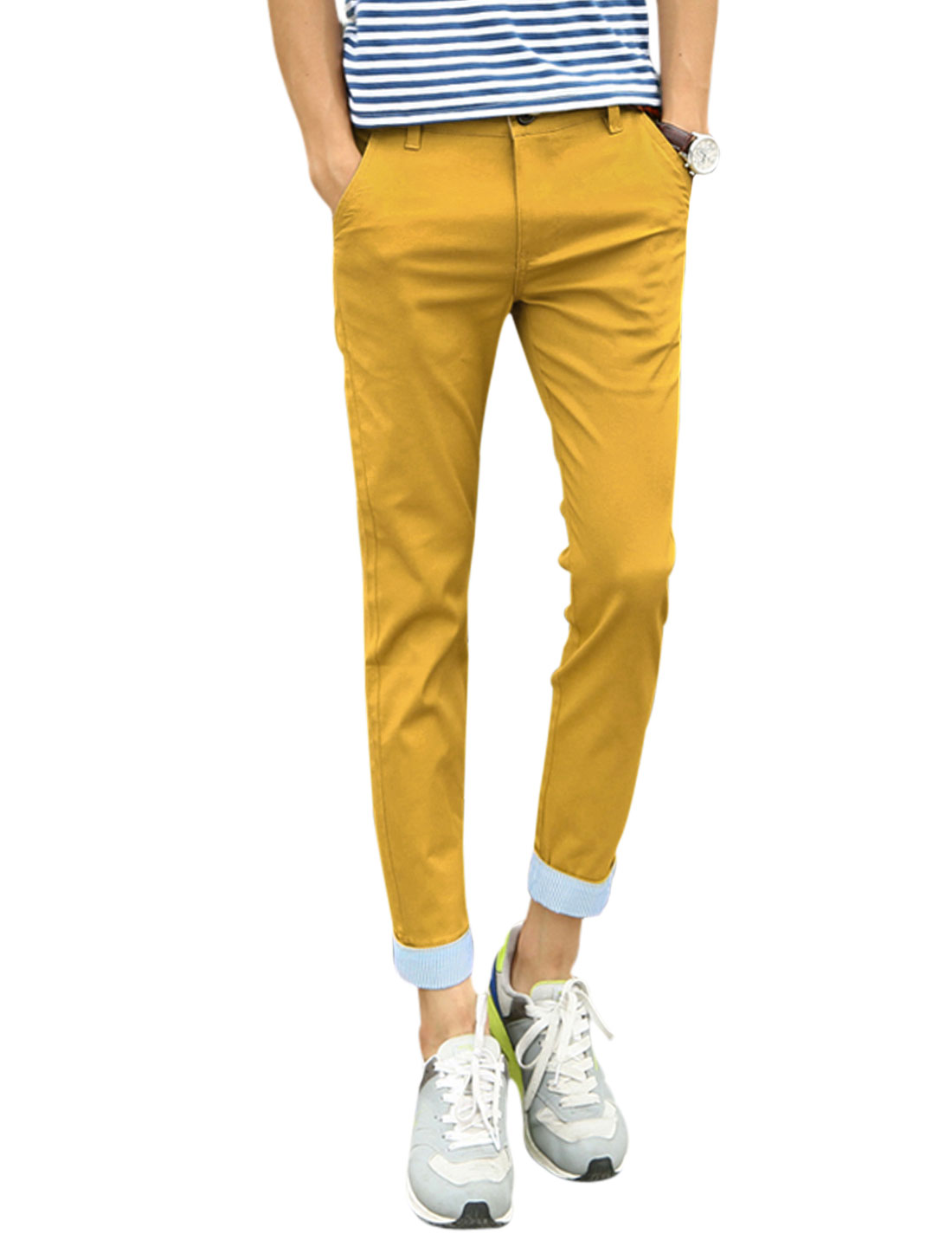 Men Zip Fly Two Welt Hip Pockets Rolled Cuffs Cropped Pants Curry W30