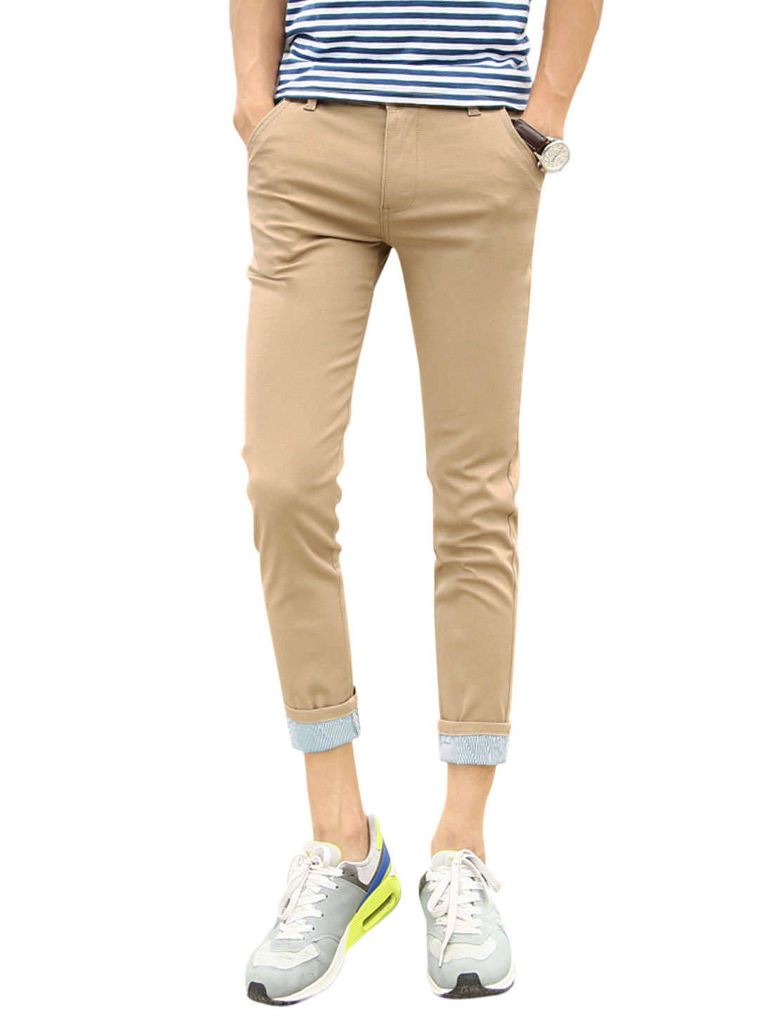 Men Zip Fly Rolled Cuffs Casual Cropped Trousers Khaki W30
