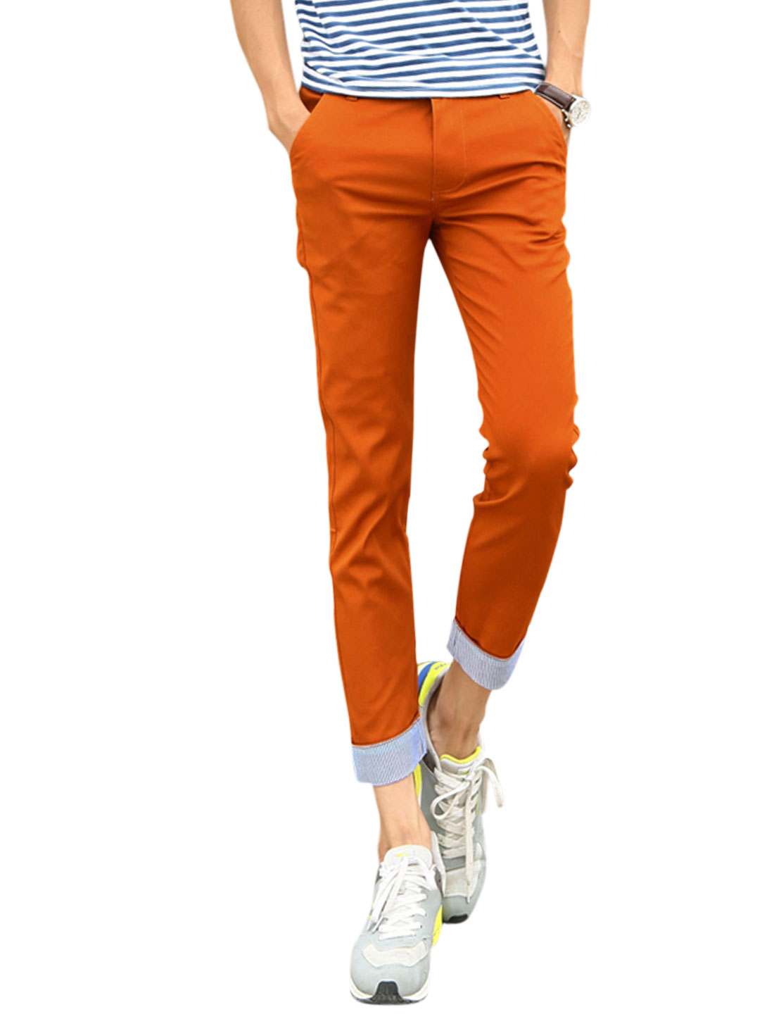 Men Mid Rise Stripes Cuffs Casual Crop Pants Rust W30