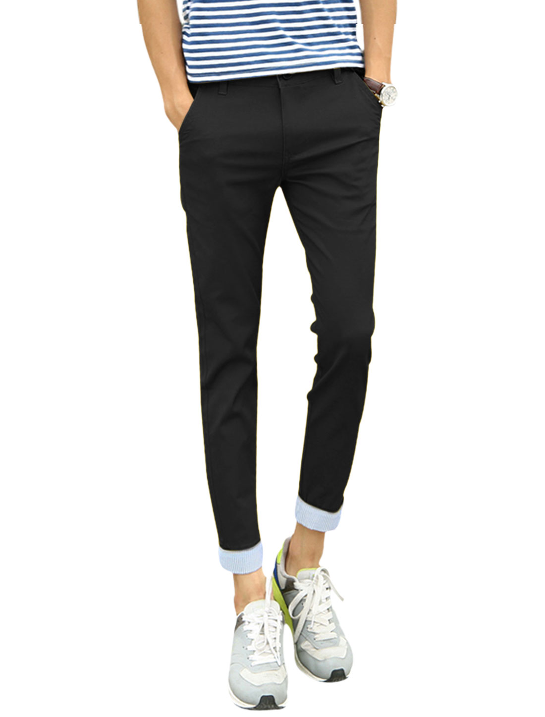 Man Mid Rise Stripes Detail Casual Cropped Trousers Black W30