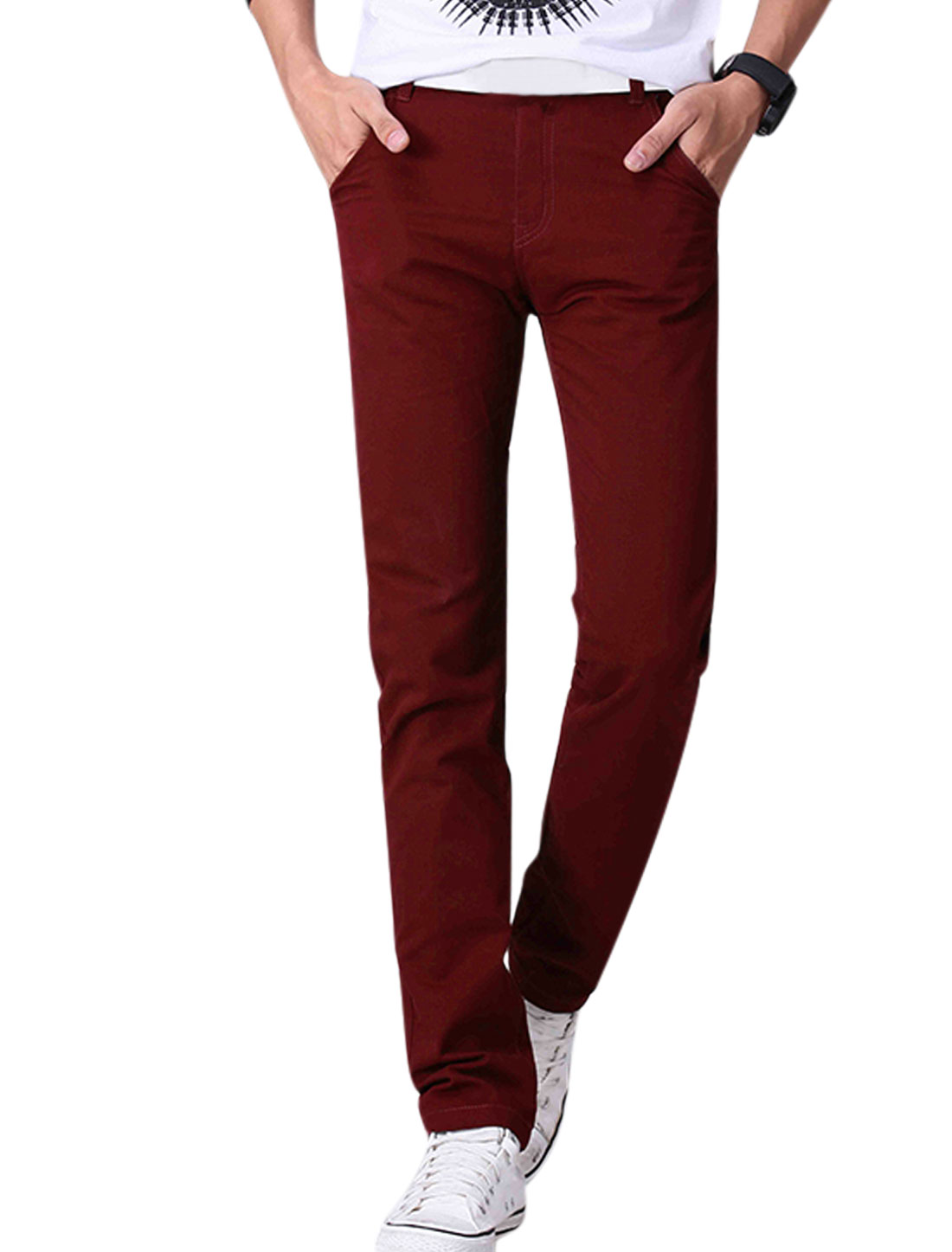 Man Mid Rise Zip Fly Flag Embroidery Detail Trousers Burgundy W34