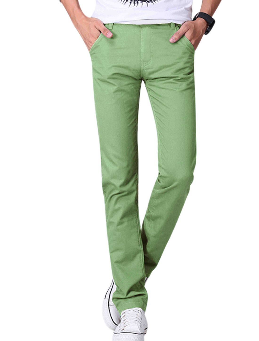 Men Mid Rise Flag Embroidery Detail Casual Pants Emerald W30