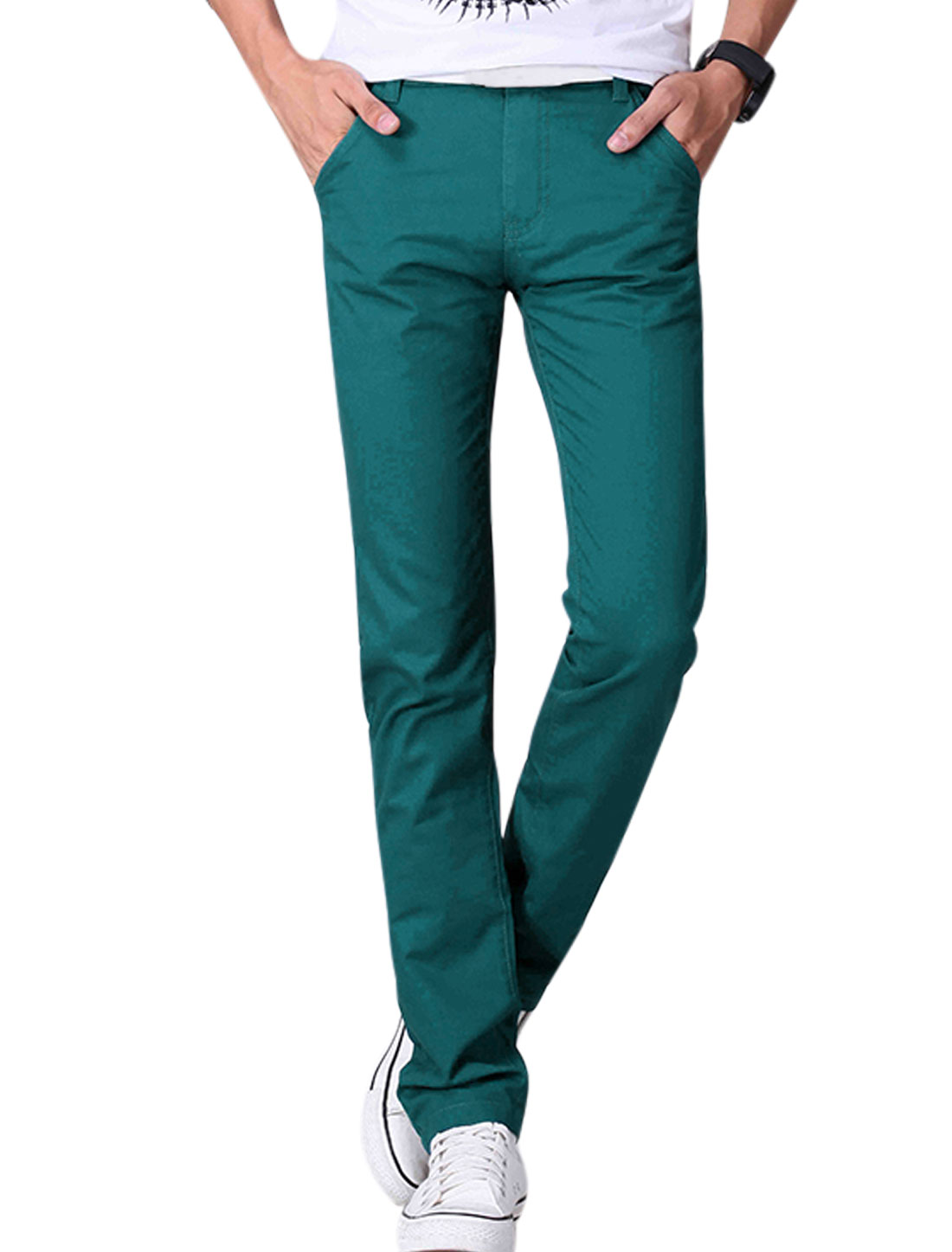 Man Mid Rise Flag Embroidery Detail Casual Pants Turquoise W34