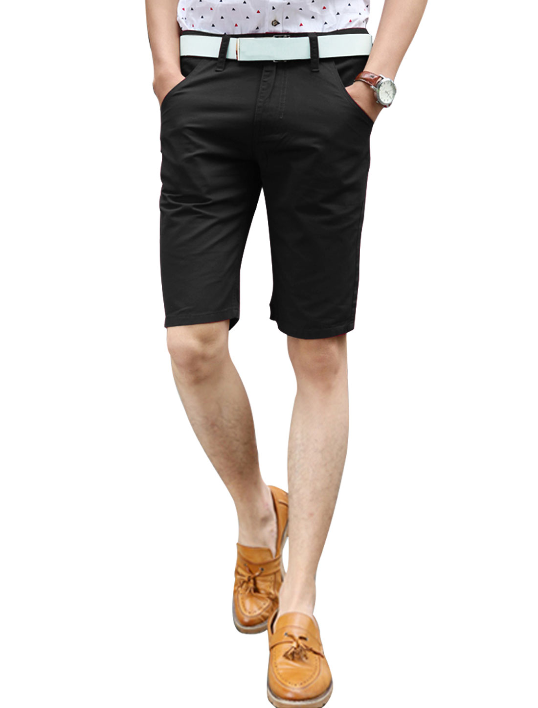 Men Mid Rise Two Slanted Pockets Straight Casual Shorts Black W30