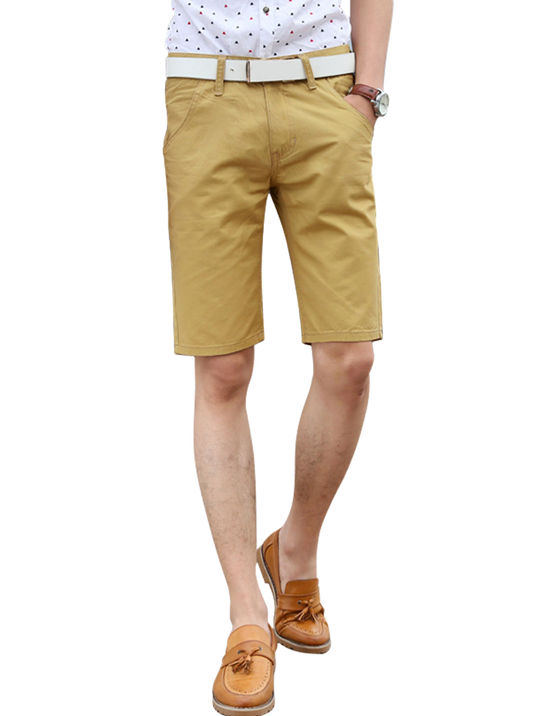 Man Mid Rise Double Slant Pockets Casual Shorts Khaki W34