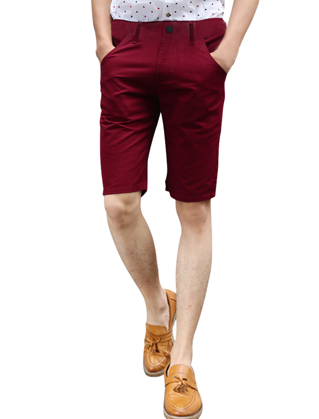 Man Natural Waist Zip Fly Slanted Pockets Casual Shorts Burgundy W34