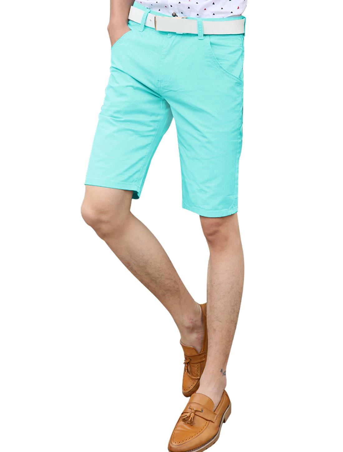 Man Natural Waist Two Hip Pockets Straight Casual Shorts Aqua W30