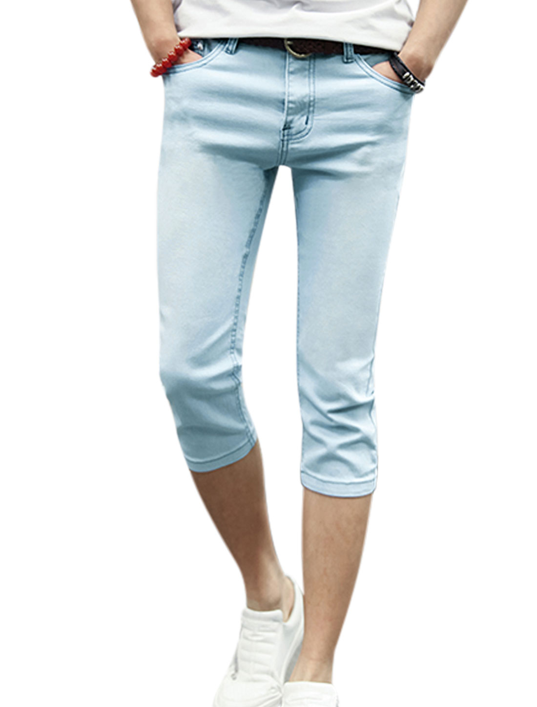 Men Mid Rise Belt Loop Slim Fit Pockets Casual Capris Jeans Light Blue W28
