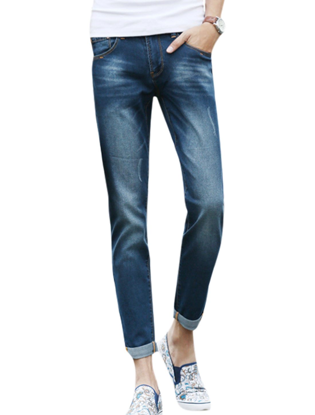 Man Mid Rise Distressed Detail Skinny Jeans Dark Blue W32