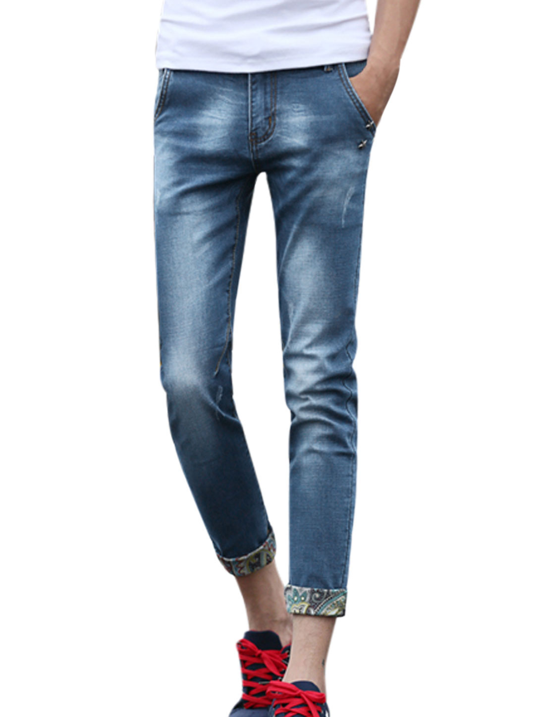Men Novelty Prints Detail Two Slant Pockets Skinny Cropped Jeans Blue