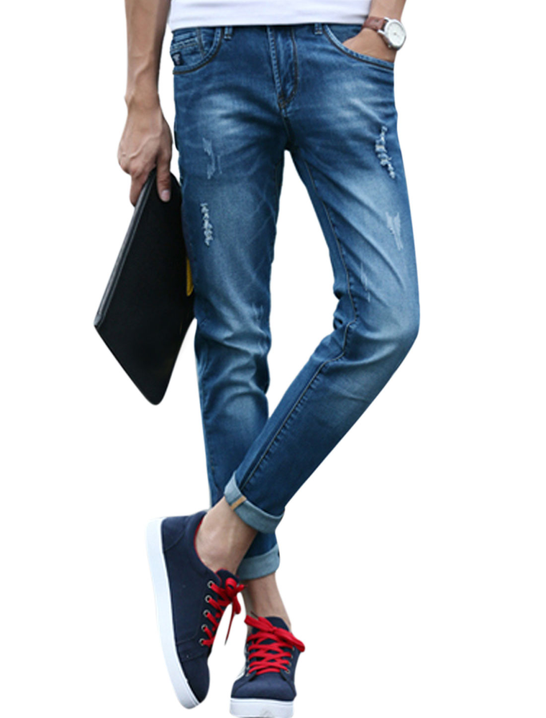 Men Mid Rise Two Slant Pockets Casual Distressed Jeans Blue W30