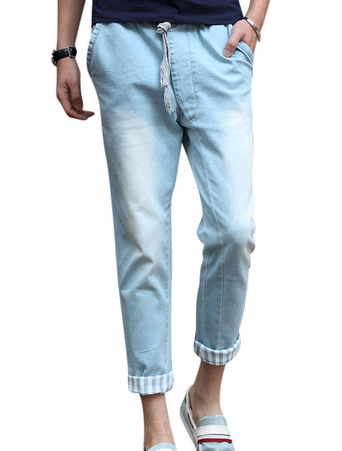 Men Elastic Drawstring Waist Mid Rise Washed Denim Cropped Jeans Light Blue W30