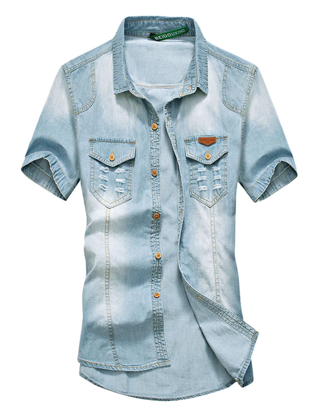 Men Distressed Detail Point Collar Casual Denim Shirt Light Blues S