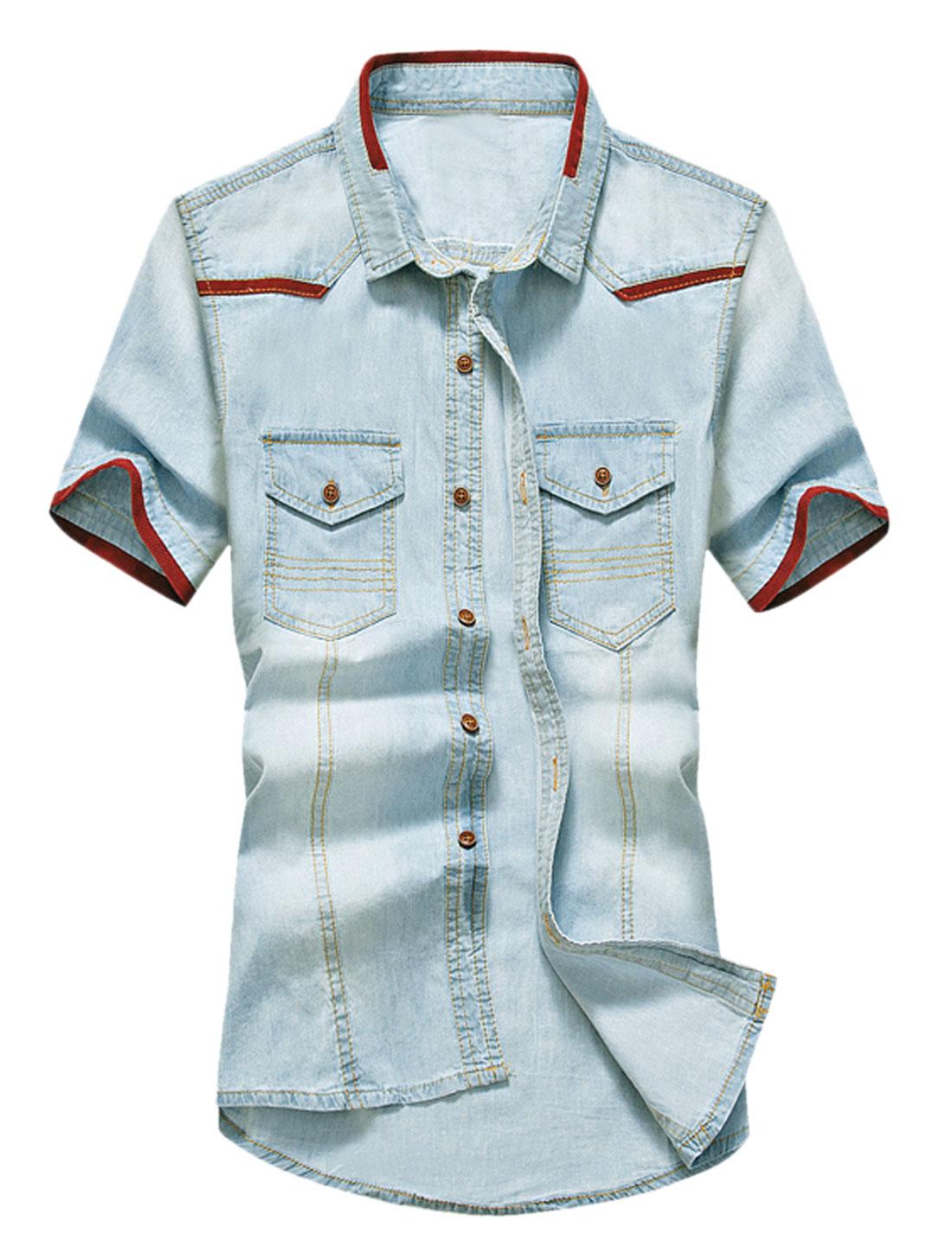 Men Flap Chest Pockets Short Sleeves Panel Denim Shirt Light Blue Burgundy M