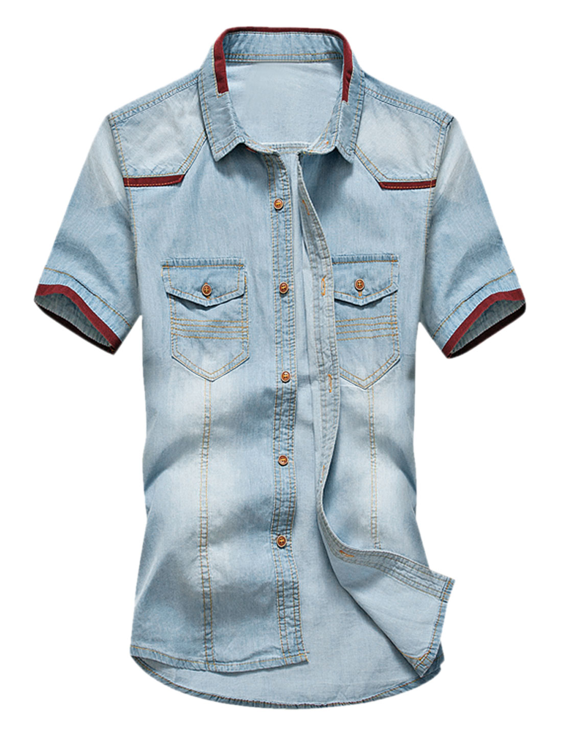 Men Button Closed Short Sleeves Panel Denim Shirt Sky Blue Burgundy M