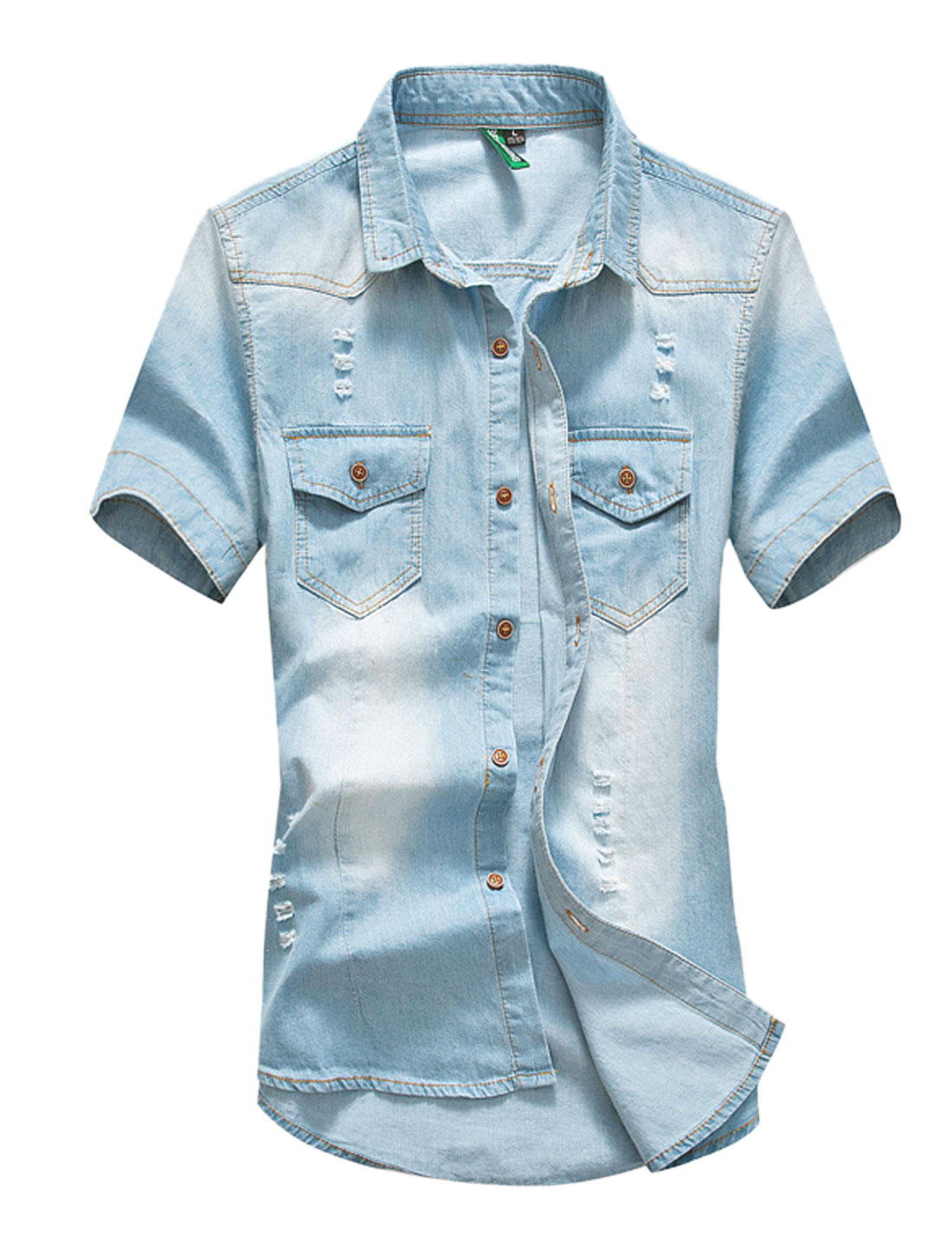 Men Distressed Detail Single Breasted Denim Shirt Baby Blue M