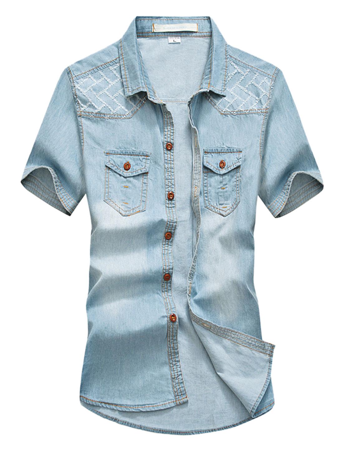 Men Destroyed Detail Flap Chest Pockets Washed Denim Shirt Light Blue M