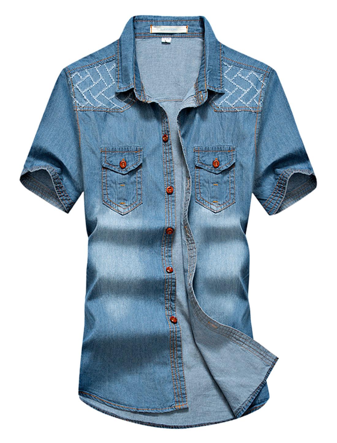 Men Destroyed Detail Button Down Washed Denim Shirt Dark Blue M
