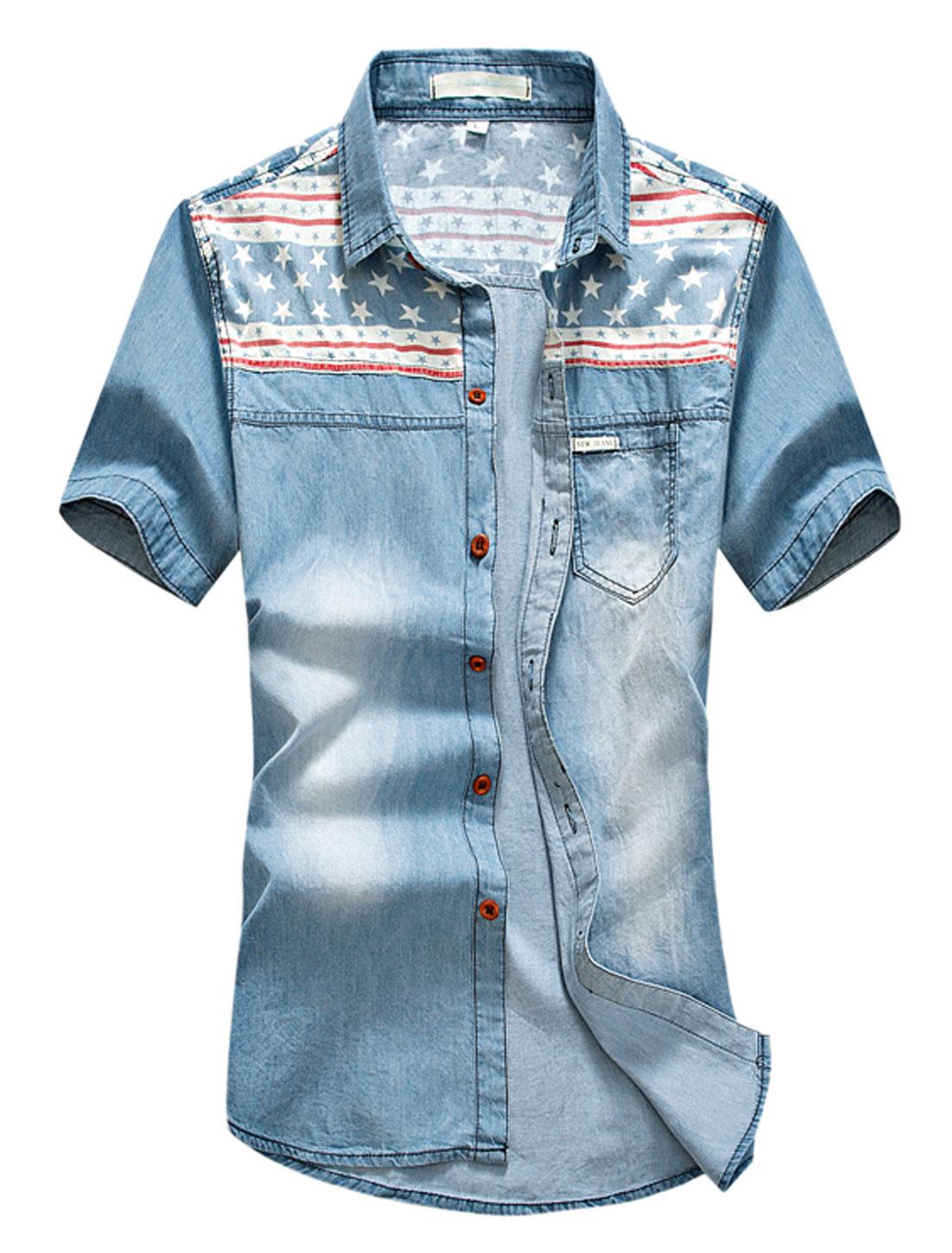 Men Stars Stripes Prints Single Breasted Denim Shirt Light Blue Red M