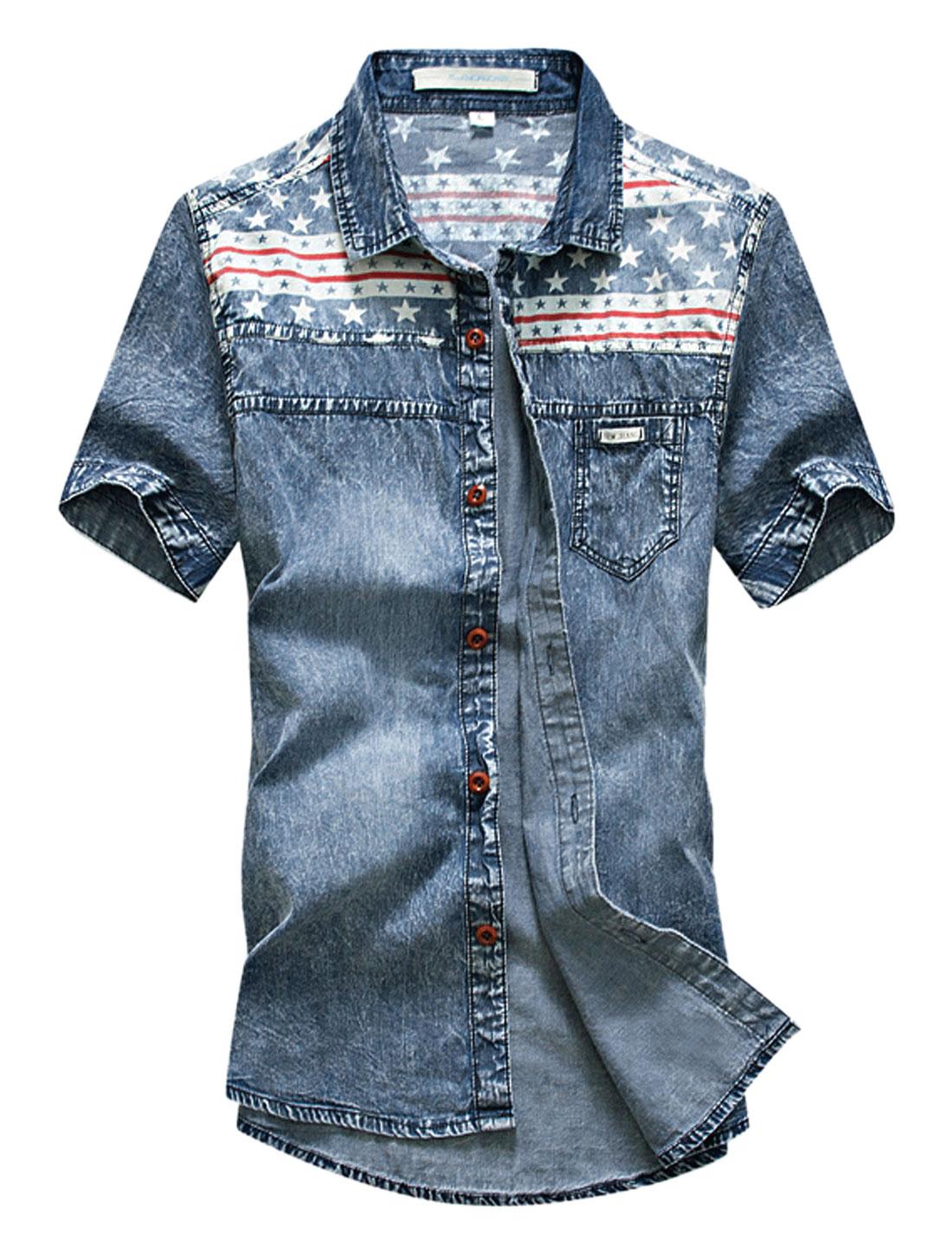 Men Stars Stripes Prints Point Collar Denim Shirt Dark Blue Red M