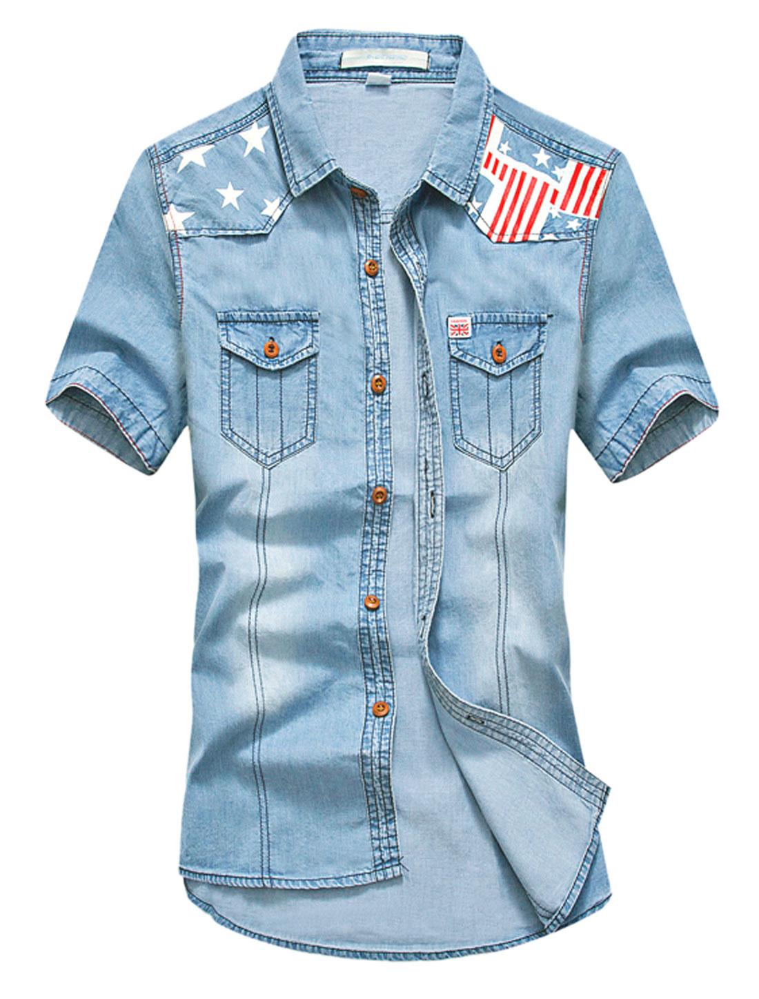 Men Stars Stripes Prints Two Chest Pockets Denim Shirt Light Blue White S