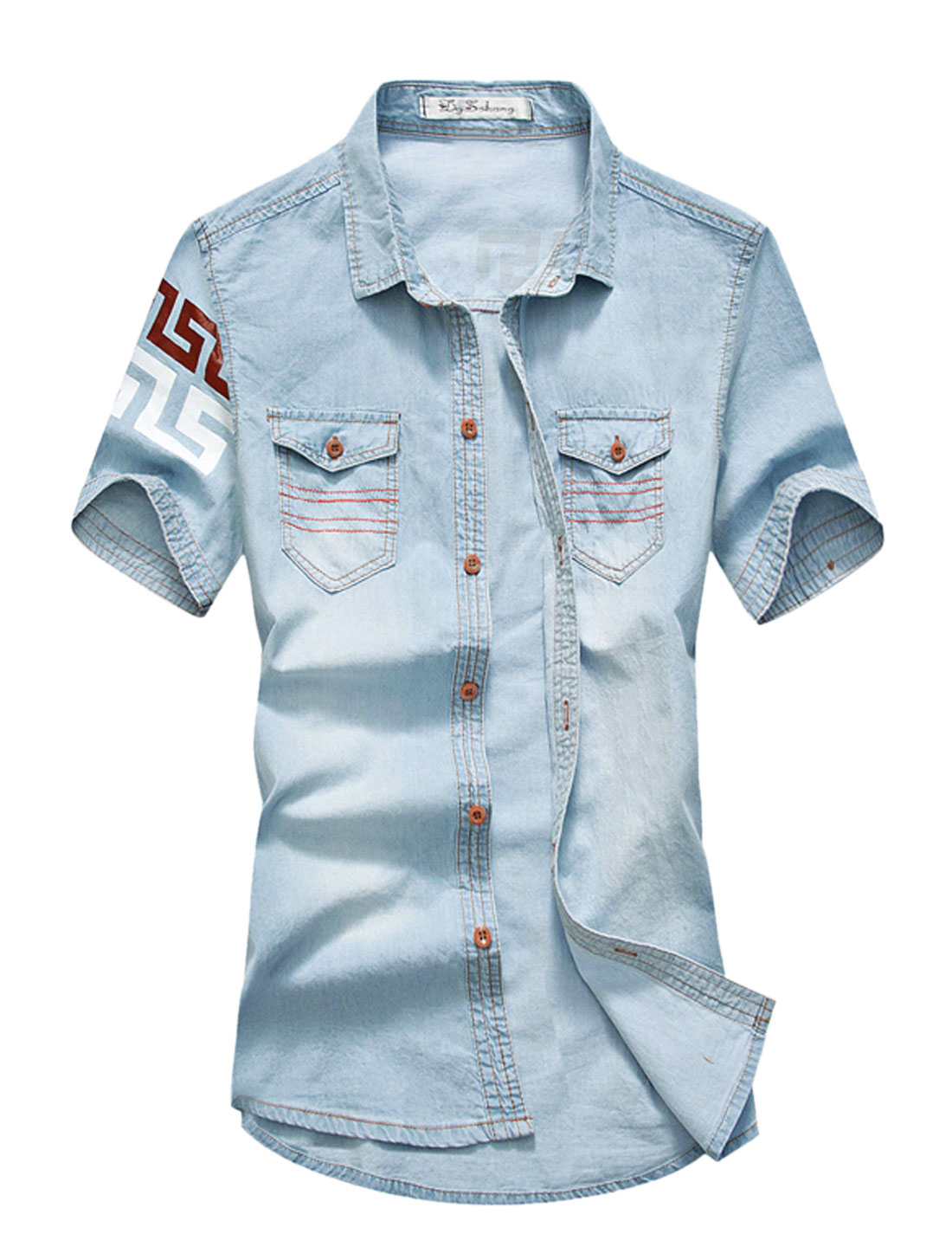 Men Novelty Prints Two Flap Chest Pockets Denim Shirt Light Blues M
